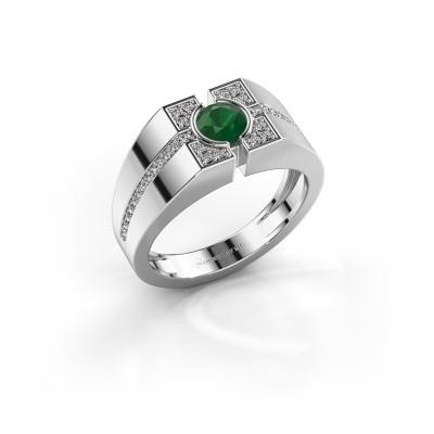 Foto van Herenring Thijmen 950 platina smaragd 5 mm