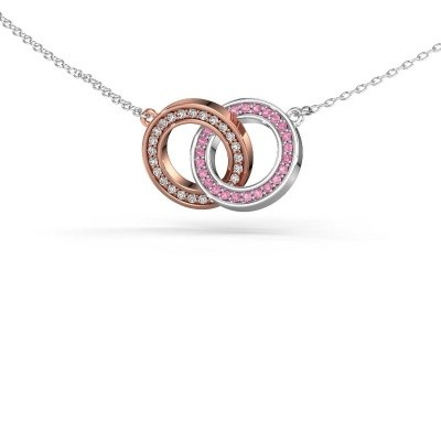 Picture of Necklace Circles 2 585 rose gold pink sapphire 1 mm