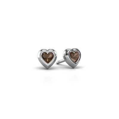 Picture of Stud earrings Charlotte 925 silver smokey quartz 4 mm