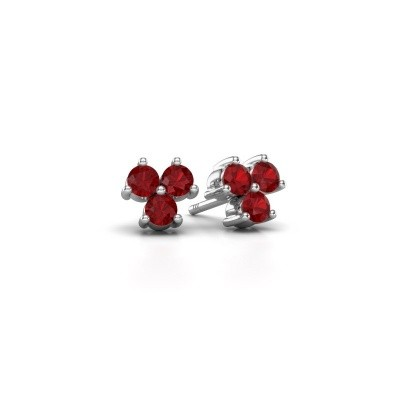Picture of Stud earrings Shirlee 925 silver ruby 3 mm