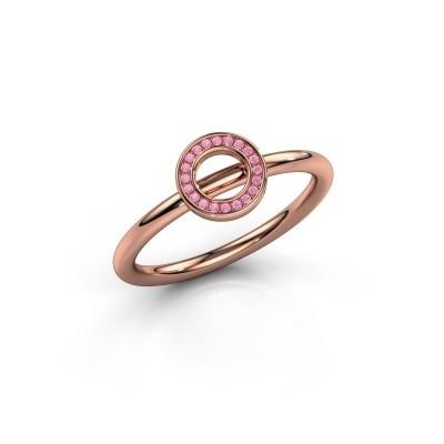 Foto van Ring Shape round small 375 rosé goud roze saffier 0.8 mm