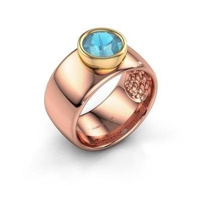 Foto van Ring Klarinda 585 rosé goud blauw topaas 7 mm