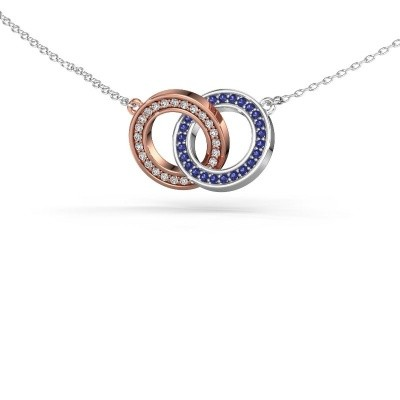 Picture of Necklace Circles 2 585 rose gold sapphire 1 mm