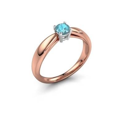Foto van Verlovingsring Nichole 585 rosé goud blauw topaas 4.2 mm
