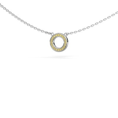 Picture of Pendant Round 2 585 white gold yellow sapphire 0.8 mm