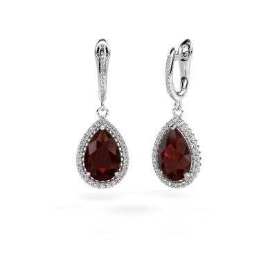 Picture of Drop earrings Hana 2 585 white gold garnet 12x8 mm
