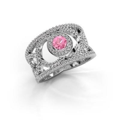 Foto van Ring Regina 950 platina roze saffier 4.2 mm