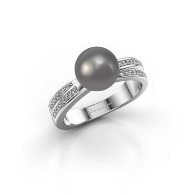 Foto van Ring Jolies 950 platina grijze parel 8 mm