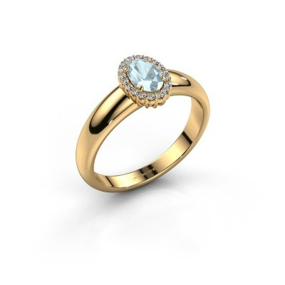 Engagement ring Tamie 750 gold aquamarine 6x4 mm
