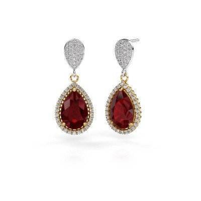 Picture of Drop earrings Cheree 2 585 gold ruby 12x8 mm