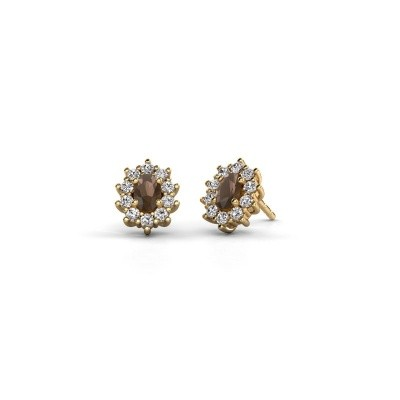 Picture of Earrings Leesa 375 gold smokey quartz 6x4 mm