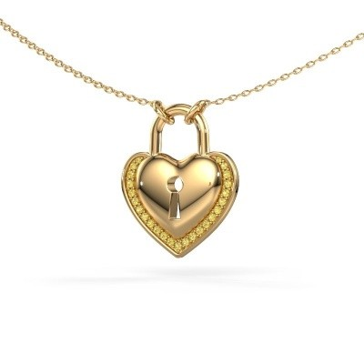Picture of Necklace Heartlock 585 gold yellow sapphire 1 mm