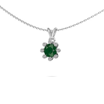 Picture of Pendant Carola 3 375 white gold emerald 6 mm