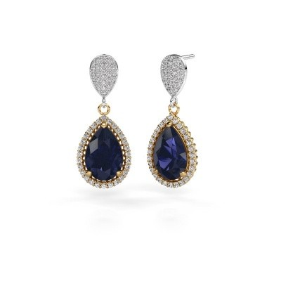 Picture of Drop earrings Cheree 2 585 gold sapphire 12x8 mm