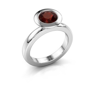 Stapelring Trudy Round 585 witgoud granaat 7 mm