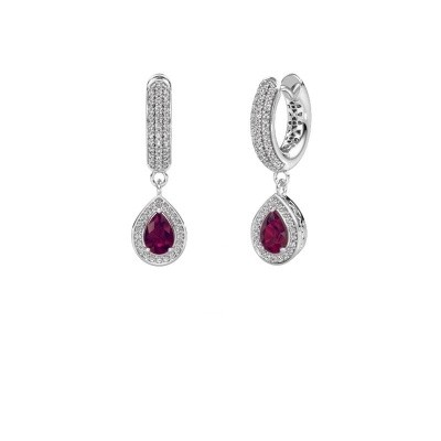 Picture of Drop earrings Barbar 2 375 white gold rhodolite 6x4 mm