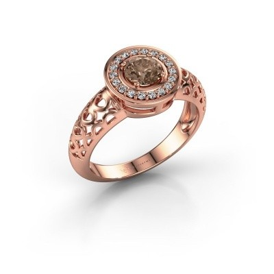 Foto van Ring Katalina 375 rosé goud bruine diamant 0.62 crt