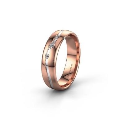 Friendship ring WH0907L35X 585 rose gold zirconia ±5x1.4 mm