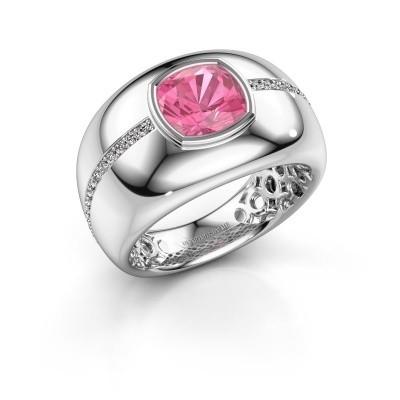 Foto van Ring Sydney 950 platina roze saffier 7.5 mm