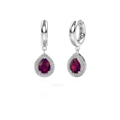 Picture of Drop earrings Barbar 1 585 white gold rhodolite 8x6 mm