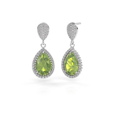 Picture of Drop earrings Cheree 2 585 white gold peridot 12x8 mm