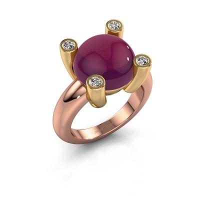 Foto van Ring Janice RND 585 rosé goud rhodoliet 12 mm