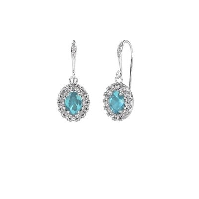 Picture of Drop earrings Jorinda 2 950 platinum blue topaz 7x5 mm