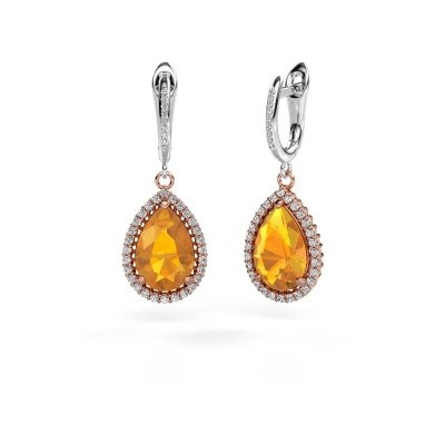 Picture of Drop earrings Hana 2 585 rose gold citrin 12x8 mm