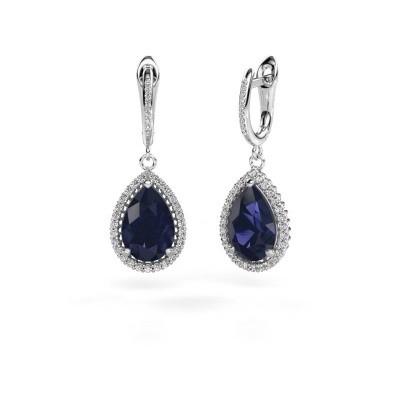 Picture of Drop earrings Hana 2 950 platinum sapphire 12x8 mm