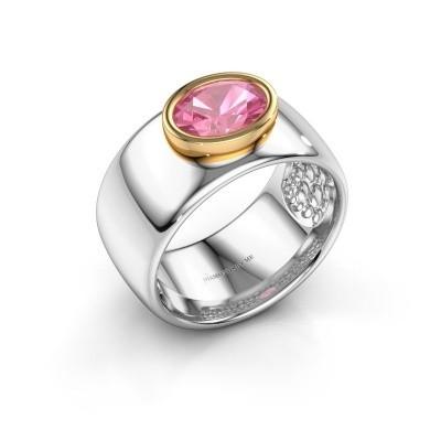 Foto van Ring Anouschka 585 witgoud roze saffier 8x6 mm