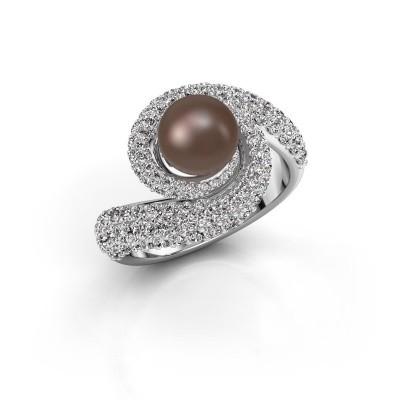 Foto van Ring Klasina 950 platina bruine parel 7 mm
