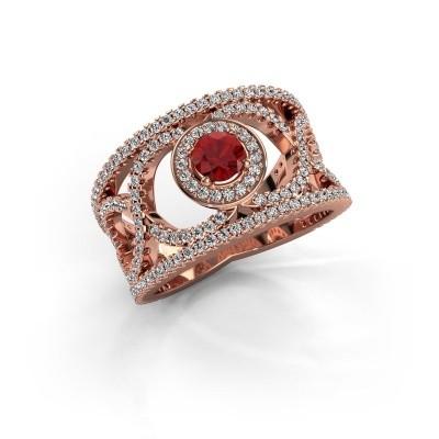 Foto van Ring Regina 375 rosé goud robijn 4.2 mm