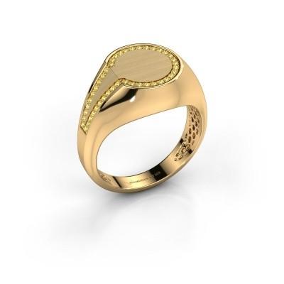 Foto van Heren ring Gijs 585 goud gele saffier 1 mm