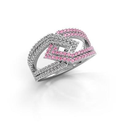 Foto van Ring Emanuelle 950 platina roze saffier 1 mm