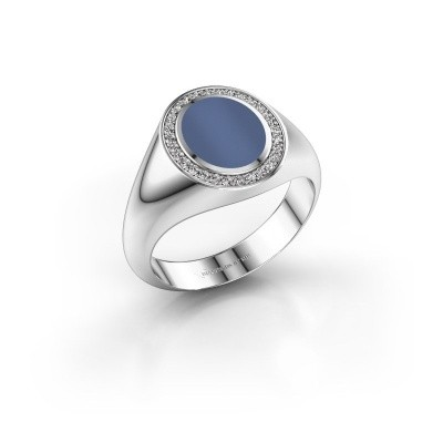 Foto van Pinkring Adam 1 925 zilver blauw lagensteen 10x8 mm