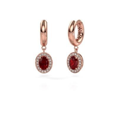 Picture of Drop earrings Annett 375 rose gold ruby 7x5 mm