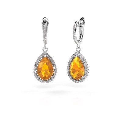 Picture of Drop earrings Hana 2 585 white gold citrin 12x8 mm