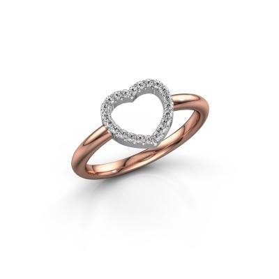 Foto van Ring Heart 7 585 rosé goud zirkonia 1 mm