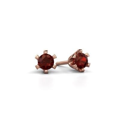 Foto van Oorstekers Shana 585 rosé goud granaat 4 mm