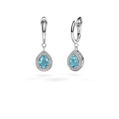 Picture of Drop earrings Ginger 1 950 platinum blue topaz 7x5 mm