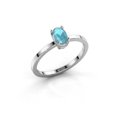Foto van Ring Lynelle 1 585 witgoud blauw topaas 6x4 mm