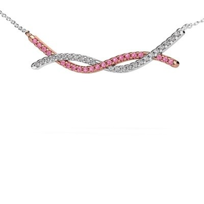 Picture of Bar necklace Breanne 585 rose gold pink sapphire 1.2 mm