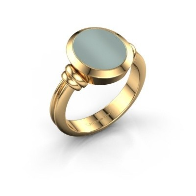 Picture of Signet ring Jake 2 F 585 gold green layerstone 12x10 mm