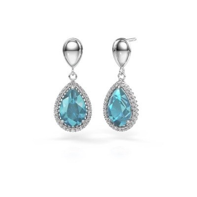 Picture of Drop earrings Cheree 1 950 platinum blue topaz 12x8 mm