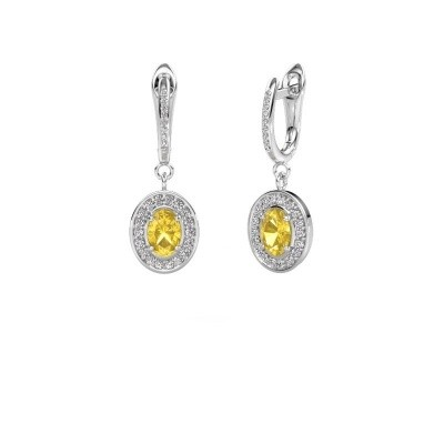 Picture of Drop earrings Layne 2 950 platinum yellow sapphire 7x5 mm