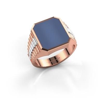Foto van Rolex stijl ring Brent 3 585 rosé goud blauw lagensteen 14x12 mm