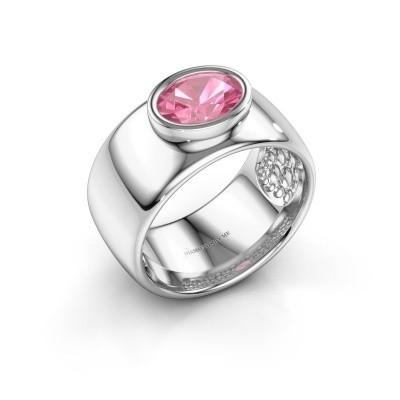 Foto van Ring Anouschka 925 zilver roze saffier 8x6 mm