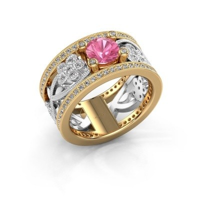 Foto van Ring Severine 585 goud roze saffier 6 mm