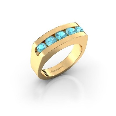 Foto van Heren ring Richard 375 goud blauw topaas 4 mm