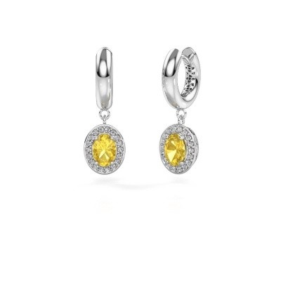 Picture of Drop earrings Annett 950 platinum yellow sapphire 7x5 mm